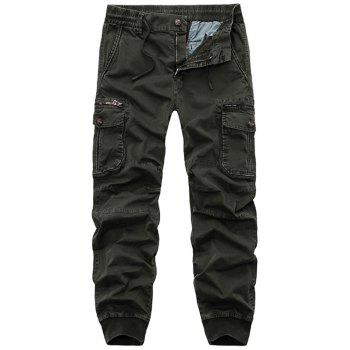 Flap Pockets Beam Feet Zip Fly Cargo Pants - ARMY GREEN 32