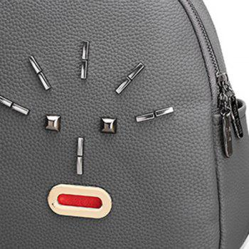 Metal PU Leather Stud Backpack -  GRAY