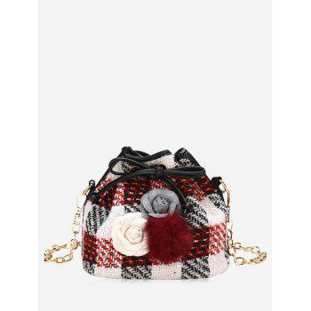 Pom Pom Flower Plaid Drawstring Crossbody Bag - RED RED