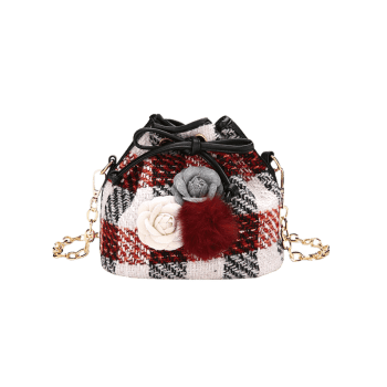 Pom Pom Flower Plaid Drawstring Crossbody Bag -  RED