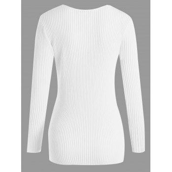 Plus Size V Neck Ribbed Sweater - 3XL 3XL