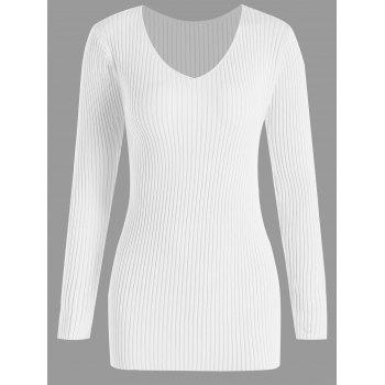 Plus Size V Neck Ribbed Sweater - WHITE 4XL