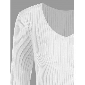 Plus Size V Neck Ribbed Sweater - WHITE WHITE