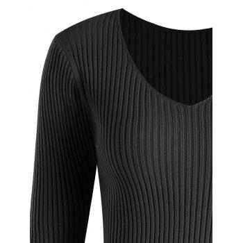 Plus Size V Neck Ribbed Sweater - 4XL 4XL
