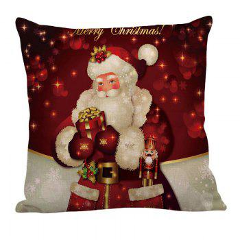 Santa Claus Pattern Linen Pillow Case - RED/WHITE W18 INCH * L18 INCH