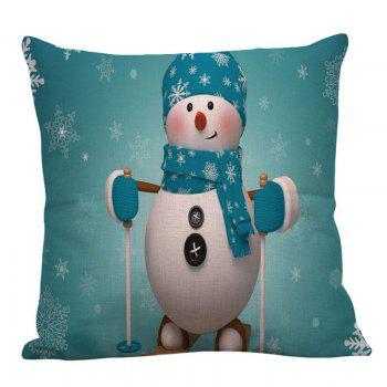 Christmas Snowman Pattern Linen Pillow Case - LIGHT BLUE W18 INCH * L18 INCH