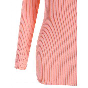 Plus Size V Neck Ribbed Sweater - PINK 4XL