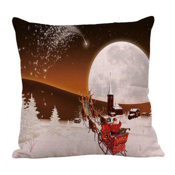Stars and Christmas Carriage Pattern Square Pillow Case - WHITE/BROWN WHITE/BROWN
