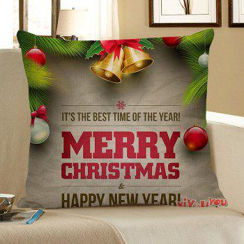 Home Decor Christmas Bell and Letters Printed Pillow Case - COLORFUL COLORFUL