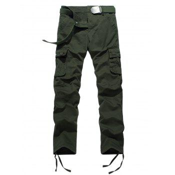 Drawstring Feet Pockets Cargo Pants - ARMY GREEN 32