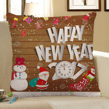 Father Christmas and Snowman Pattern Linen Pillow Case - COLORFUL COLORFUL