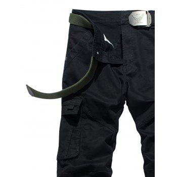 Drawstring Feet Pockets Cargo Pants - BLACK 40