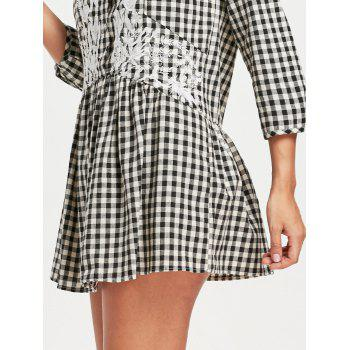 Drop Waist Plaid Floral Embroidered Dress - CHECKED M