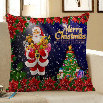 Santa Claus With Gifts Flowers Printed Pillow Case - COLORFUL COLORFUL