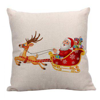 Santa Claus Elk Cart Printed Throw Pillow Case - W18 INCH * L18 INCH W18 INCH * L18 INCH