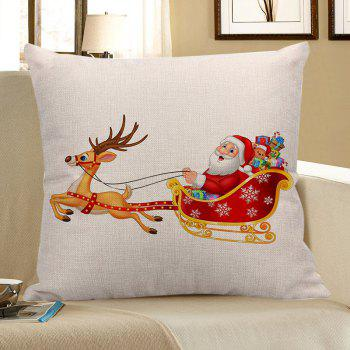 Santa Claus Elk Cart Printed Throw Pillow Case - COLORFUL W18 INCH * L18 INCH