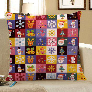 Christmas Decorations Patterned Linen Pillow Case - COLORFUL W18 INCH * L18 INCH