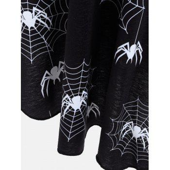 Casual Halloween Spider Web Print Flare Dress - BLACK 2XL