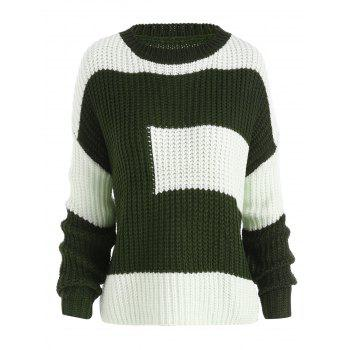 Plus Size Color Block Chunky Boyfriend Sweater - BLACKISH GREEN ONE SIZE