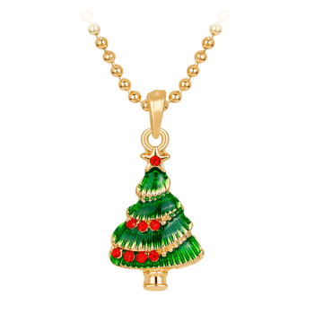 Christmas Tree Star Faux Crystals  Necklace -  GREEN