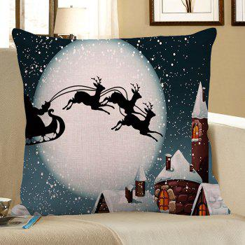 Moon and Christmas Reindeer Pattern Pillow Case - GRAY GRAY