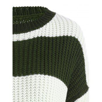 Plus Size Color Block Chunky Boyfriend Sweater - BLACKISH GREEN BLACKISH GREEN