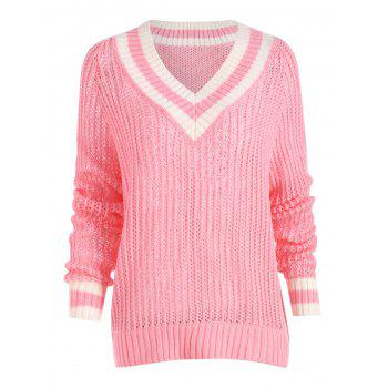 Chunky Knit High Low Tennis Plus Size Sweater - PINK PINK