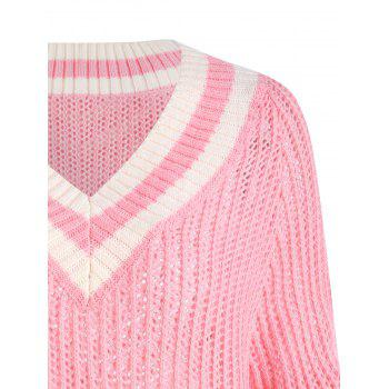 Plus Size Chunky Knit High Low Tennis Sweater - PINK 3XL