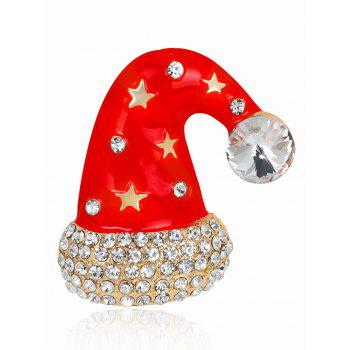 Rhinestone Five Pointed Star Christmas Cap Brooch - RED RED