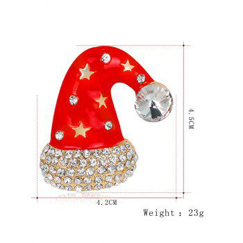 Rhinestone Five Pointed Star Christmas Cap Brooch -  RED