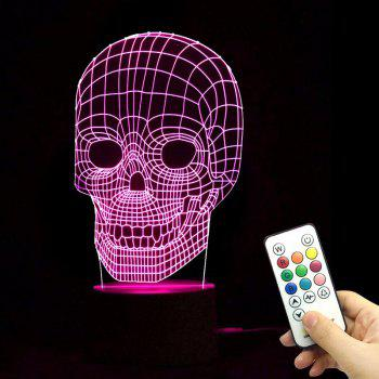 Halloween Skull Shape Color Change Remote Control Night Light - TRANSPARENT