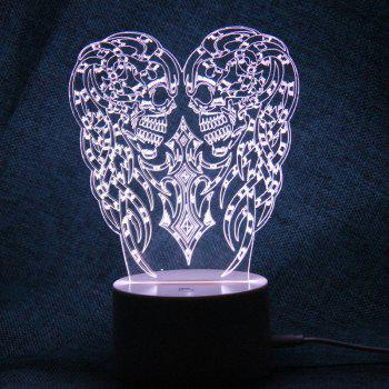 Halloween Two Skulls Shape Remote Control Color Change Night Light -  TRANSPARENT