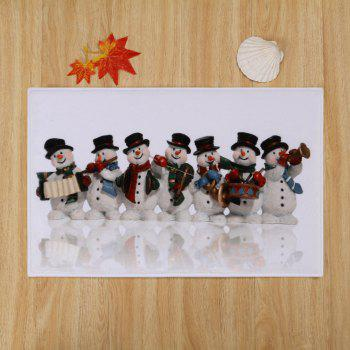 Christmas Snowman Band Skidproof Bath Mat - COLORMIX W16 INCH * L24 INCH