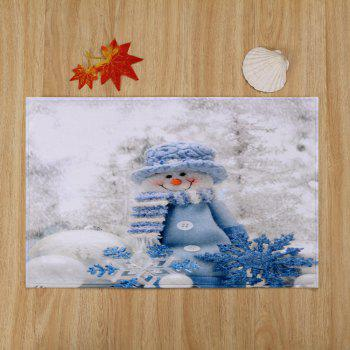 Christmas Snowman Print Skidproof Bath Mat - WHITE W24 INCH * L35.5 INCH