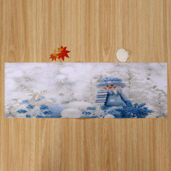 Christmas Snowman Print Skidproof Bath Mat - WHITE W16 INCH * L47 INCH