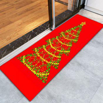 Christmas Tree Thin Flannel Antislip Bath Mat - RED W16 INCH * L47 INCH