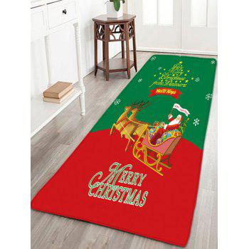 Christmas Sled Flannel Skidproof Thin Bath Rug - RED AND GREEN W16 INCH * L47 INCH