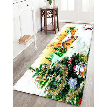Flannel Thin Christmas Tree Antiskid Bath Rug - WHITE W16 INCH * L47 INCH