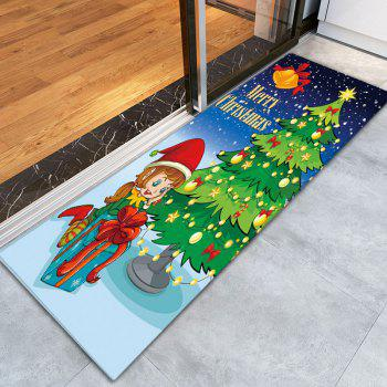 Antislip Flannel Thin Christmas Tree Bath Rug - GREEN W16 INCH * L47 INCH