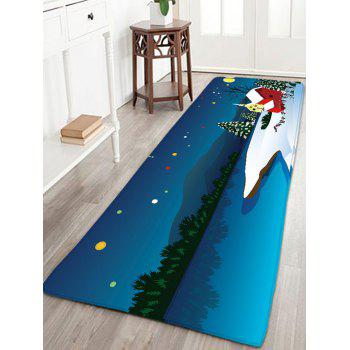 Skidproof Flannel Thin Christmas Snow Night Rug - BLUE BLUE