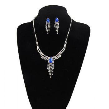 Rhinestoned Teardrop Fringed Jewelry Set - BLUE BLUE