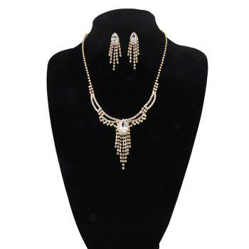 Rhinestoned Teardrop Fringed Jewelry Set - GOLDEN GOLDEN