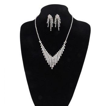 Rhinestone Fringed Necklace with Earring Set - SILVER SILVER