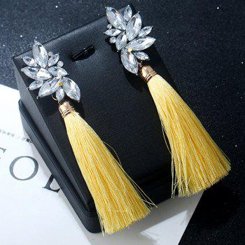 Alloy Faux Crystal Tassel Drop Earrings - YELLOW