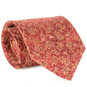 Floral and Vine Printed 9CM Width Tie - RED RED