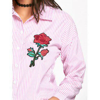 Floral Embroidered High Low Striped Shirt - PINK 2XL