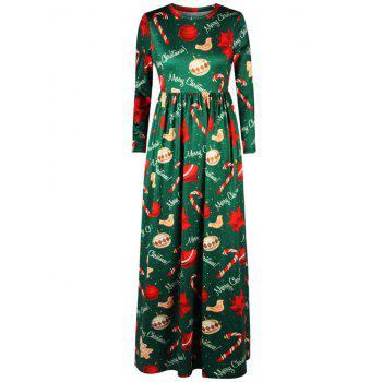 Merry Christmas Tree Print Maxi Dress
