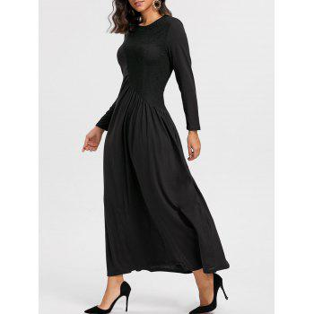 Long Sleeve Lace Insert Ruched Maxi Dress - BLACK S