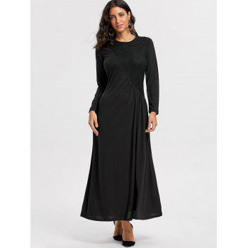 Long Sleeve Lace Insert Ruched Maxi Dress - M M