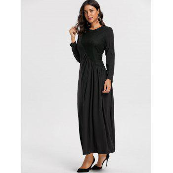 Long Sleeve Lace Insert Ruched Maxi Dress - BLACK M